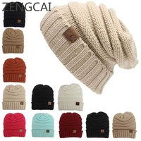 CC Beanies Winter Hats For Women Men Knitted Caps Woolen Hat Casual Unisex Solid Color Hip-Hop Skullies Beanie Warm Cap