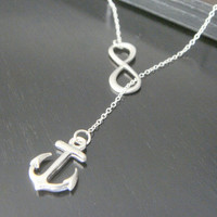 SALE Sterling Silver Personalized Initial Sideways Infinity and Anchor Necklace Bridesmaids Gift Birthday Celebrity Inspired Jewelry
