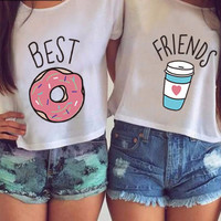 Best Friends T Shirt Donut And Coffee Duo