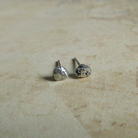 Silver Nugget Earrings, 925 Sterling Silver, Tiny Stud Earrings, Rough Rustic Jewelry