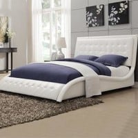 Modern Tully White Upholstered Queen Bed by Coaster