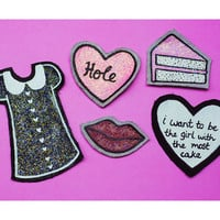 Hole, Courtney Love Inspired, Kinderwhore, Glitter, Glow In The Dark, Cake, Doll Parts Lyrics, Hand-Painted, Upcycled, Fabric Patch Set
