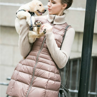 Brand Women Parka Long 2016 Winter Duck Down Jacket Knitted Sleeves Collar Slim Pink Female Elegant Coat Outerwear High Quality