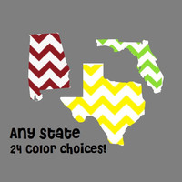 Chevron State Decal, Custom Vinyl Decal, Vinyl State Decor, 5 inch State Decal