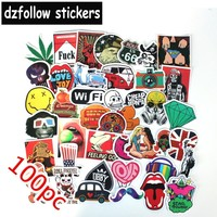 100pcs Mixed funny brand laptap stickers for  Home decor jdm on laptop sticker decal fridge skateboard doodle  toy