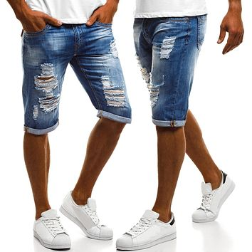 Men's Short Pants Worn-out Flanging White Washed Straight Jeans