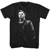 Halloween Tall T-Shirt Black and White Michael Myers Black Tee