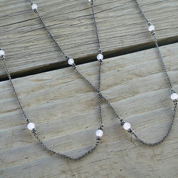 rose quartz body chain // beaded body chain jewelry // rose quartz jewelry // dainty body chain // pink stone jewelry // HEY12R