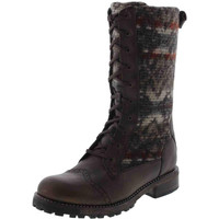 Woolrich Womens Santa Fe Leather Crackled Combat Boots