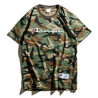 Champion Women Men Stylish Logo Embroidery Green Camouflage Short Sleeve Cotton Couple T-Shirt Top I12525-1