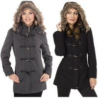 Womens Hooded Parka Coat Fur Trim Toggle Button Wool Blazer Overcoat Jacket New