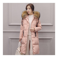 Winter Hooded Middle Long Slim Racoon Down Coat Woman   pink   S