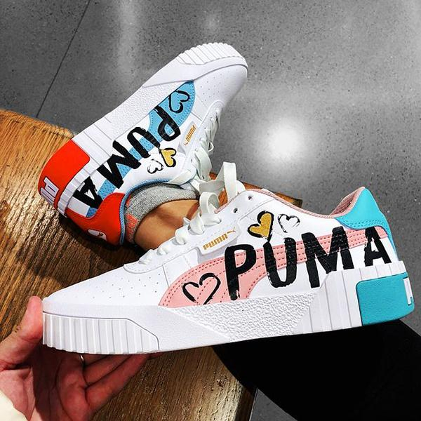Image of Puma Cali Flat Shoes Doodle Cartoon Alphabet Casual Sneakers Sneakers Tail Two Color Options
