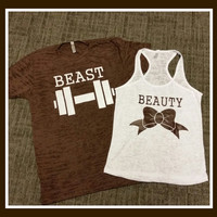 Free US Shipping  Fast Processing Matching BEauty and The Beast Couples with Brown and White Tshirt and Tank Top