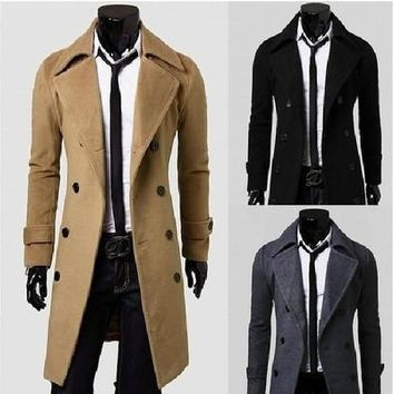 Notched Woolen Plain Long Sleeve Double Breasted Mens Coats [9305639943]