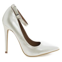 Leon Pearl By Shoe Republic, Pearl White Women's High Heel Pump w/ Pointed Close Toe & Ankle Straps