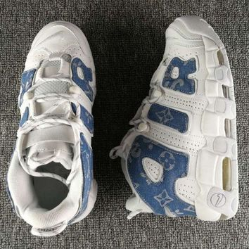 Nike Air More Uptempo Fashion Casual Running Sports Shoes White/Blue G