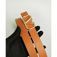 Valentino hot seller of plain color casual belts and fashionable belts for men and women Brown Belt #3