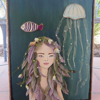 Mermaid Decor Sea Siren Mixed Media Painting. Blue Eyes Green and Lavender Hair Wall Art. Original Artwork on Canvas.