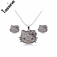 Tassina Cute  silver color  anime Crystal Cute Cat Hello Kitty KT Jewelry sets  For Women Girls  Children jewelry  MLY5321