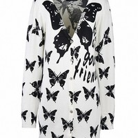 MapleClan Women's V neck Printed Button Up Long Knit Sweater Black Butterfly