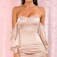 Take On Me Champagne Satin Long Lantern Sleeve Off The Shoulder Sweetheart Neck Ruched Bodycon Mini Dress
