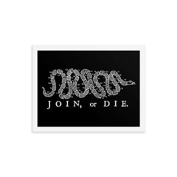 Join or Die 50 State Framed poster