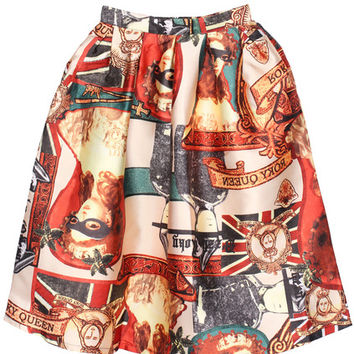 Statue of Liberty Print Flare Skirt