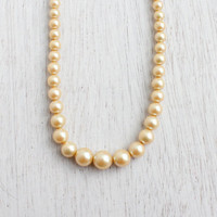 Vintage Faux Pearl Cream Necklace - Single Graduated Strands of Bridal Formal Beads / Dainty Elegance