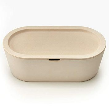 Modern Cream Eco Bamboo Bread Box with Cutting Board Lid - Farmhouse Breadbox Bread Holder By Cooler Kitchen
