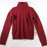 """~~~ MUST HAVE ~~~ RALPH LAUREN RED """"HIGH NECK/CABLE KNIT"""" CASHMERE SWEATER ~ M/L"""