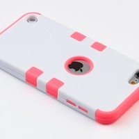 ULAK [Colorful Series] 3-Piece Style Hybrid Silicon Hard Case Cover for Apple iPod Touch 5 6th Generation (White/Neo Red)