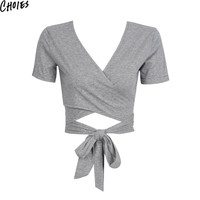 Women 2 Colors V Neck Cross Front Cut Out Sexy Tied Back Casual Crop Top T-shirt 2016 Summer New Fashion Short Sleeve Solid Tops