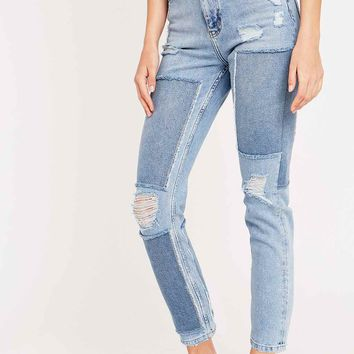 BDG Patch Ripped Girlfriend Jeans in Light Blue - Urban Outfitters