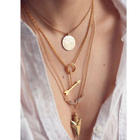 2015 summer style 4 layer arrow design necklace pendant charm gold choker necklace women jewelry!N272