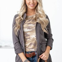 Brea Waist Tie Tencel Jacket | Dark Grey