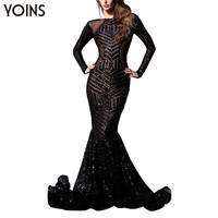 YOINS 2016 Spring Backless Sequin Party Maxi Long Dress Sexy Hot Bodycon Elegant Formal Long Sleeve Slim Fish Tail Club