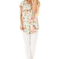 Mint and Blush Floral Print Short Sleeve Tee