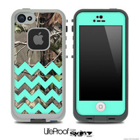 Camo & Trendy Green Chevron V3 With Solid Front Print Skin for the iPhone 4/4s or 5 LifeProof Case