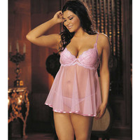 Embroidery & Sheer Babydoll W-underwire Cups, Adjustable Straps & G-string Pink 1x