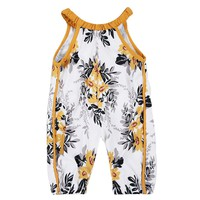 Newborn Baby Girls Floral Romper Halter Jumpsuit Harem Pants Outfits Clothes Baby romper
