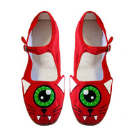 Cyclops Cat Shoes - Red One Eyed Kitty Mary Janes - Ladies Size 8