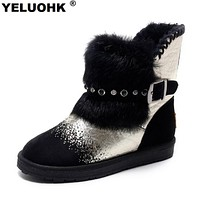 2017 Winter Snow Boots Women Shoes Crystal Plush Ankle Boots For Women Casual Fur Australian Boots Ugs Shoes Woman