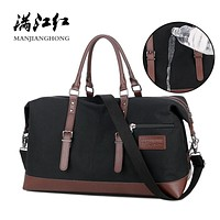 Canvas Leather Men Travel Bags Carry on Luggage Bags Men Duffel Bags Handbag Travel Tote Large Weekend Overnight Waterproof 1468