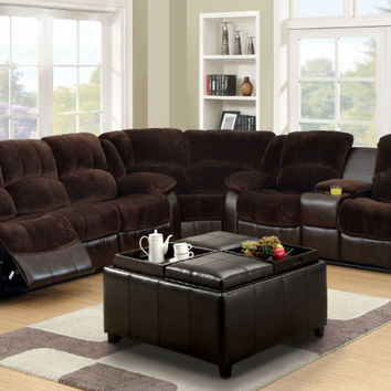 CM6556CP-SEC 3 pc winchester 2 tone dark brown champion fabric leather like vinyl sectional sofa set
