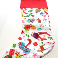 Childs Christmas Stocking Scattered Gifts Red Tonal Cuff Handmade