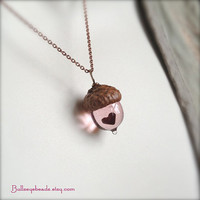 Glass Acorn Necklace  Mini Peter Pan Kiss with by bullseyebeads