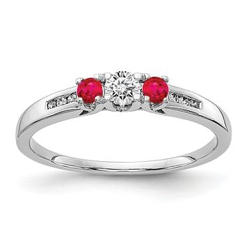 14k White Gold Real Diamond and Ruby 3-stone Ring
