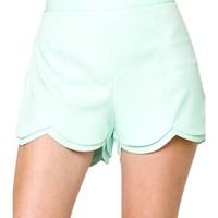 Layered Scalloped Shorts, Mint