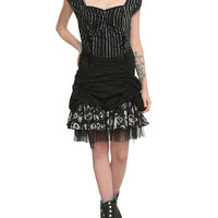 The Nightmare Before Christmas Pinstripe Lace-Up Dress
